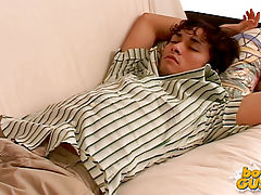 Cute college boy gets undressed while sleeping.
