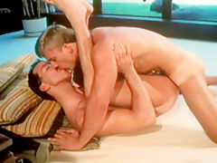 Amazing gays kissing while having very sensual sex together