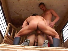 Horny farmers having hot ass sex outside on their break