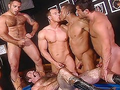 In a bar, 7 super hot gays are having the orgy of their life
