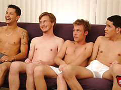 Four broke straight boys suck cock for cash.