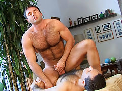Very hot dudes with hairy chest doing anal sex session HD!
