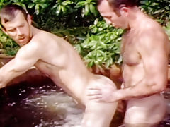 Gay couple making delightful sex in a hot tub till they cum